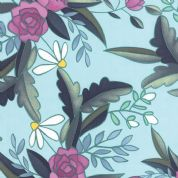Moda Tucker Prairie by One Canoe Two - 4410 - Purple Floral on Pale Aqua  - 36000 14 - Cotton Fabric